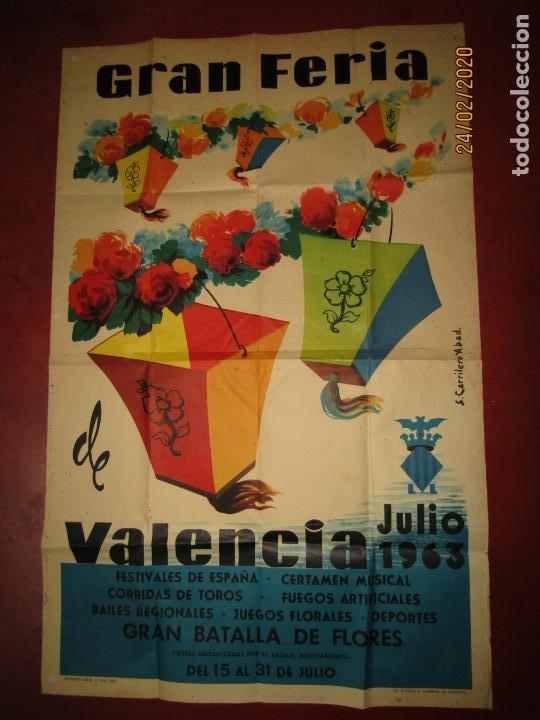 Carteles Feria: Antiguo Cartel de la Gran Feria de Valencia del Año 1963 Ilustrado por S. CARRILERO ABAD - Foto 2 - 195127455
