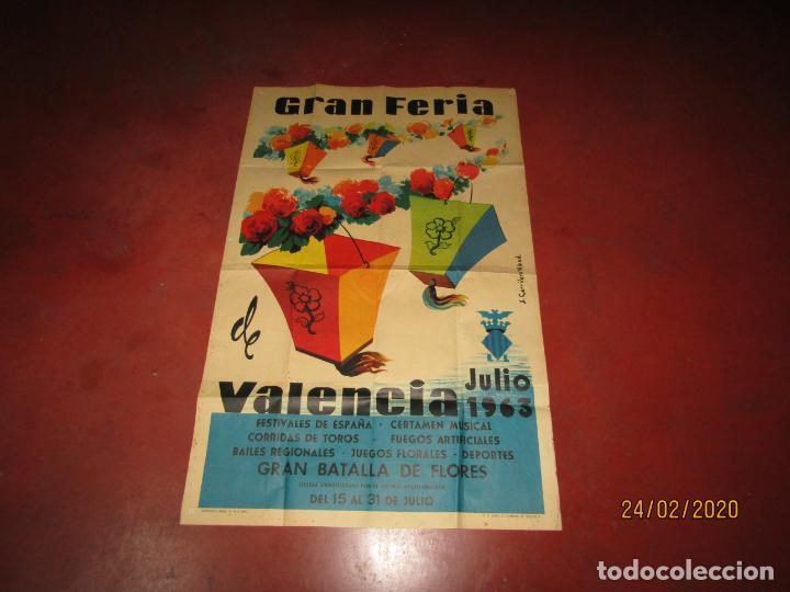 Carteles Feria: Antiguo Cartel de la Gran Feria de Valencia del Año 1963 Ilustrado por S. CARRILERO ABAD - Foto 3 - 195127455