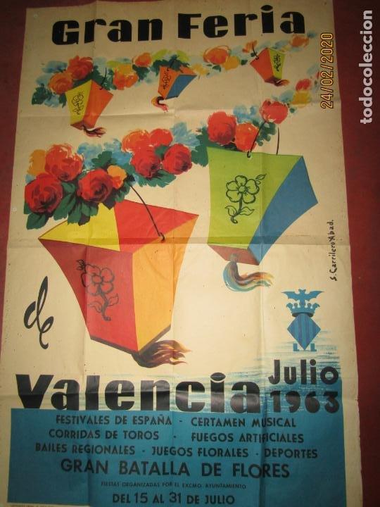 Carteles Feria: Antiguo Cartel de la Gran Feria de Valencia del Año 1963 Ilustrado por S. CARRILERO ABAD - Foto 4 - 195127455
