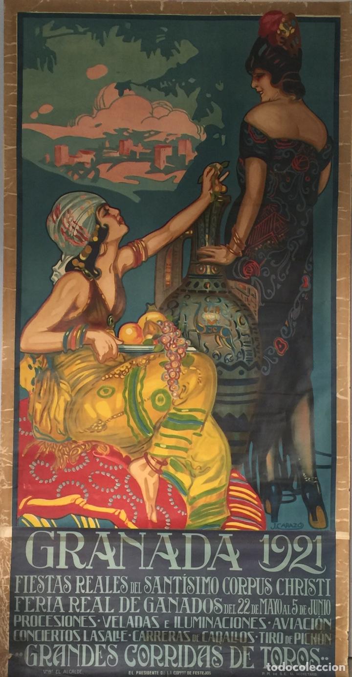 CARTEL OFICIAL DE FIESTAS Y DE CORPUS CHRISTI GRANADA 1921 (Coleccionismo - Carteles Gran Formato - Carteles Ferias, Fiestas y Festejos)