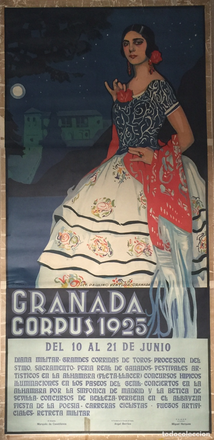 Carteles Feria: Cartel Oficial de Fiestas del Corpus Christi- Granada 1925 - Foto 2 - 195397186
