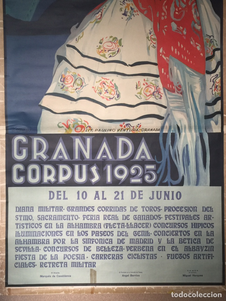 Carteles Feria: Cartel Oficial de Fiestas del Corpus Christi- Granada 1925 - Foto 3 - 195397186