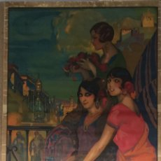 Carteles Feria: CARTEL OFICIAL DE FIESTAS DEL CORPUS CHRISTI Y FERIA REAL - GRANADA 1928. Lote 195399420