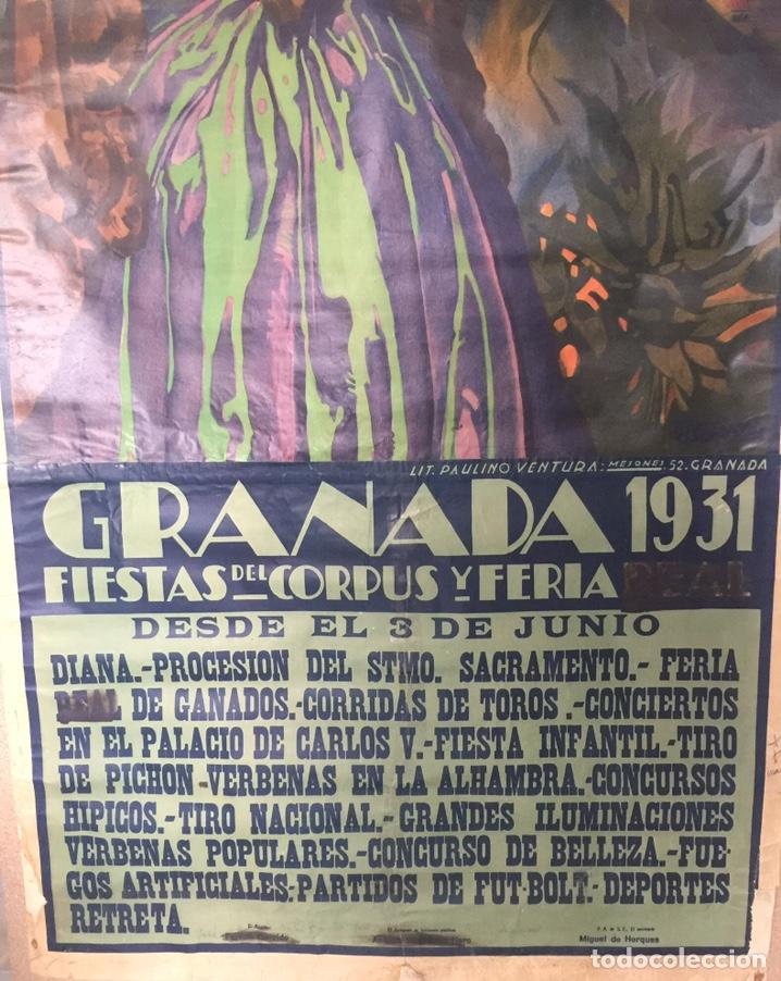 Carteles Feria: Cartel Oficial de Fiestas del Corpus Christi y Feria Real - Granada 1931 - Foto 4 - 195401907