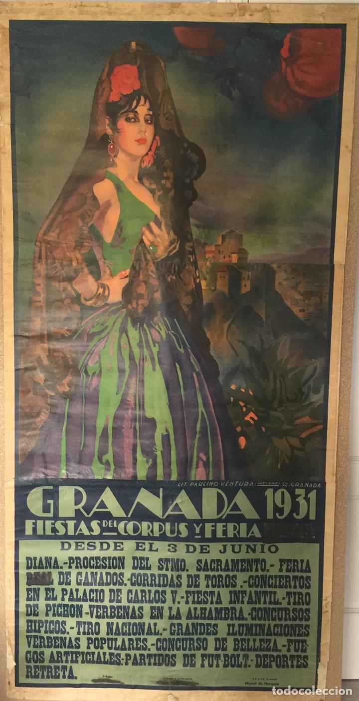 CARTEL OFICIAL DE FIESTAS DEL CORPUS CHRISTI Y FERIA REAL - GRANADA 1931 (Coleccionismo - Carteles Gran Formato - Carteles Ferias, Fiestas y Festejos)