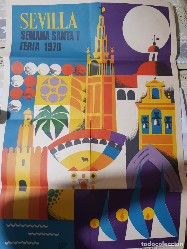CARTEL SEMANA SANTA Y FERIA SEVILLA 1970 (Coleccionismo - Carteles Gran Formato - Carteles Ferias, Fiestas y Festejos)