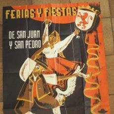 Carteles Feria: CARTEL ORIGINAL IMPRESO FERIAS Y FIESTAS DE SAN JUAN Y SAN PEDRO LEON 1956 MUÑOZ. Lote 196916522
