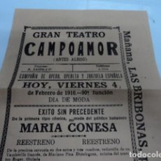 Carteles Feria: PRECIOSO CARTEL AÑO 1916 TEATRO CAMPOAMOR OVIEDO MARIA CONESA AMPARO ROMO EL HUSAR ZARZUELA . Lote 197871568