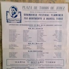 Affiches Foire: 1978 FESTIVAL FLAMENCO MONUMENTO A MANUEL TORRES. Lote 199240552