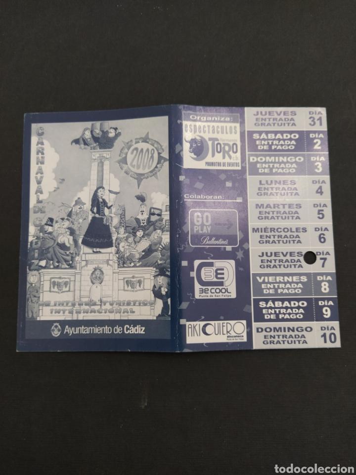 ABONO CARNAVAL DE CÁDIZ 2008 - CARPA SANTA BÁRBARA (Coleccionismo - Carteles Gran Formato - Carteles Ferias, Fiestas y Festejos)