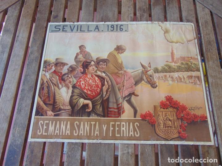 CARTEL SEVILLA 1916 SEMANA SANTA Y FERIA ,RICO CEJUDO MIDE 49.5 X 39 CM (Coleccionismo - Carteles Gran Formato - Carteles Ferias, Fiestas y Festejos)