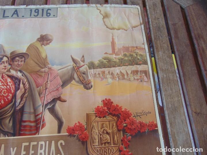 Carteles Feria: CARTEL SEVILLA 1916 SEMANA SANTA Y FERIA ,RICO CEJUDO MIDE 49.5 X 39 CM - Foto 11 - 206329018