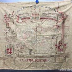 Carteles Feria: PRECIOSO PAÑUELO EXPOSICION UNIVERSAL BARCELONA, LA ESPAÑA INDUSTRIAL AÑO 1888, PLANO PLAZA DE TOROS. Lote 206382475