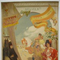 Carteles Feria: CARTEL ORIGINAL DE LAS FIESTAS DE SEVILLA, 1913, DEL ARTISTA GONZALO BILBAO.. Lote 206389713