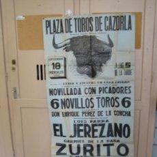Carteles Feria: ANTIGUO CARTEL DE PLAZA DE TOROS DE CAZORLA 1963. EL JEREZANO, ZURITO Y EL PIREO. Lote 206393212