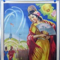 Carteles Feria: PRECIOSO CARTEL LITOGRAFICO - MANOLAS - ILUSTRADOR: DONAT - (CARTEL GRANDE). Lote 206798382