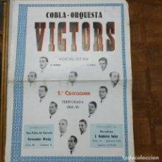 Carteles Feria: COBLA ORQUESTA VICTORS 1954-55 CARTEL 48,50 X 34,50. Lote 211491285