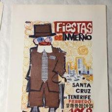 Affissi Fiera: CARTEL DE CARNAVAL DE TENERIFE - AÑO 1968. EN PERFECTO ESTADO. 29X40. Lote 214052510
