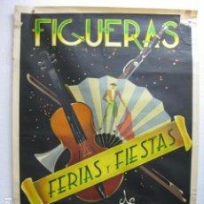 Carteles Feria: CARTEL POSTER ORIGINAL FIGUERAS FIESTAS Y FERIAS DE LA SANTA CRUZ MAYO 1956 FIGUERES GRAFICA MANEN. Lote 214926298