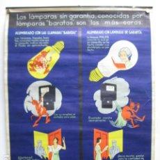 Carteles Feria: CARTEL POSTER ORIGINAL PUBLICIDAD LAMPARA BOMBILLAS PHILIPS GRAFICAS RIVADENEYRA MADRID 42X55.5CM. Lote 214927148