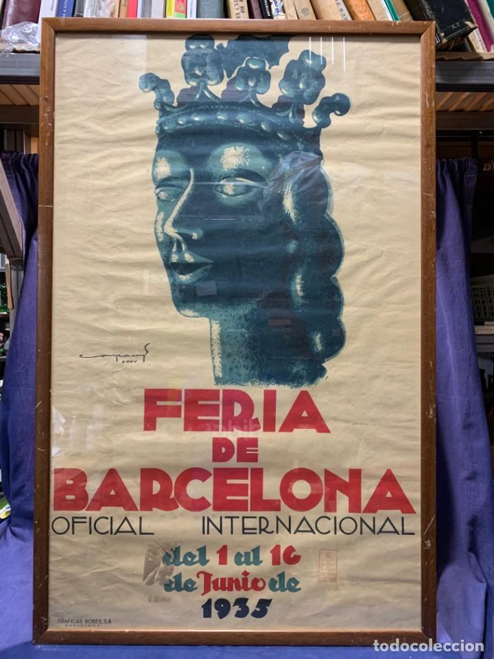 CARTEL FERIA BARCELONA OFICIAL INTERNACIONAL 1935 COMPANY SELLO OFICINA TURISMO CATALUNIA 103X66C (Coleccionismo - Carteles Gran Formato - Carteles Ferias, Fiestas y Festejos)