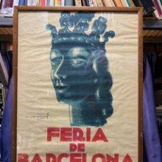 Carteles Feria: CARTEL FERIA BARCELONA OFICIAL INTERNACIONAL 1935 COMPANY SELLO OFICINA TURISMO CATALUNIA 103X66C. Lote 217023463