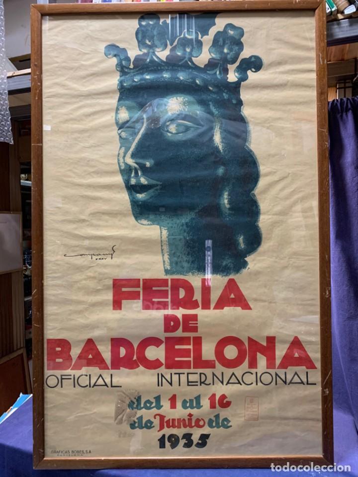 Carteles Feria: CARTEL FERIA BARCELONA OFICIAL INTERNACIONAL 1935 COMPANY SELLO OFICINA TURISMO CATALUNIA 103X66C - Foto 5 - 217023463