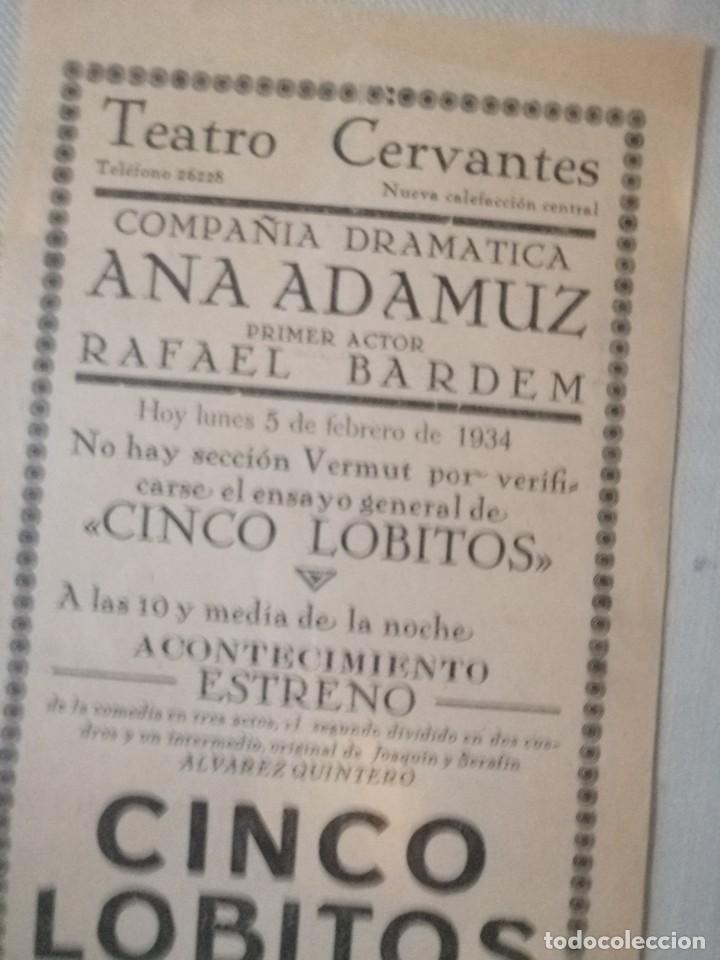 CARTEL TEATRO CERVANYES (Coleccionismo - Carteles Gran Formato - Carteles Ferias, Fiestas y Festejos)