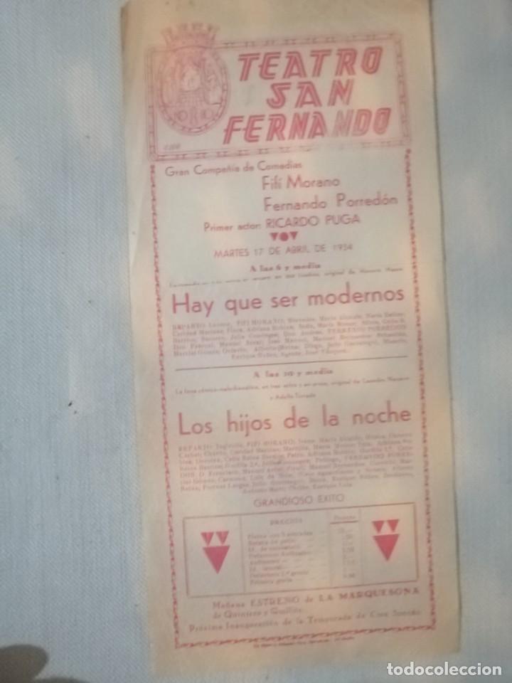 CARTEL TEATRO SAN FERNANDO (Coleccionismo - Carteles Gran Formato - Carteles Ferias, Fiestas y Festejos)