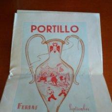 Carteles Feria: PROGRAMA DE LAS FIESTAS DE PORTILLO AÑO 1952 ACOMPAÑADO DE INVITACIÓN PERSONAL DEL ALCALDE. Lote 219209942