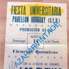 Carteles Feria: SEVILLA, 1967, CARTEL FIESTA UNIVERSITARIA, GRUPO MUSICAL LOS FLEXOS, RARISIMO, 34X48 CMS. Lote 219305081
