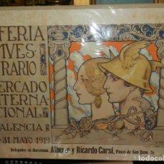 Carteles Feria: (M) CARTEL ORIGINAL - III FERIA MUESTRARIO MERCADO INTERNACIONAL, VALENCIA 1919, ILUST. L DUBÓN. Lote 219898010
