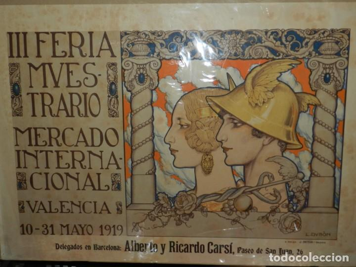 Carteles Feria: (M) CARTEL ORIGINAL - III FERIA MUESTRARIO MERCADO INTERNACIONAL, VALENCIA 1919, ILUST. L DUBÓN - Foto 2 - 219898010