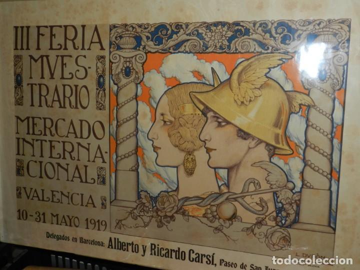 Carteles Feria: (M) CARTEL ORIGINAL - III FERIA MUESTRARIO MERCADO INTERNACIONAL, VALENCIA 1919, ILUST. L DUBÓN - Foto 3 - 219898010