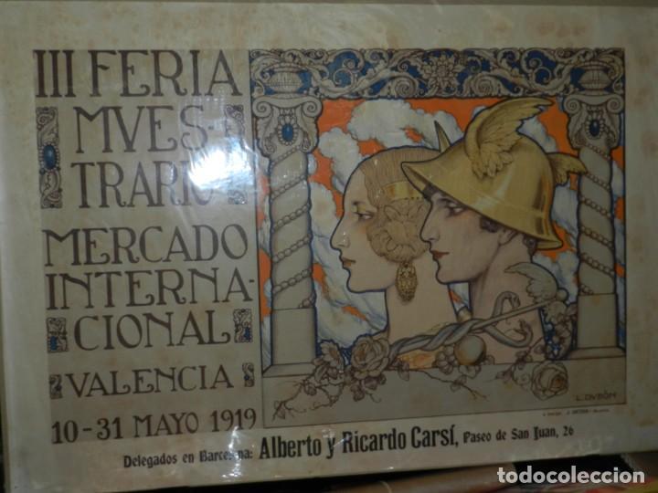Carteles Feria: (M) CARTEL ORIGINAL - III FERIA MUESTRARIO MERCADO INTERNACIONAL, VALENCIA 1919, ILUST. L DUBÓN - Foto 4 - 219898010