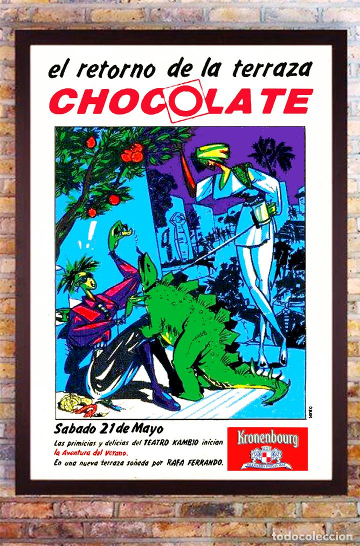 CARTEL DE DISCOTECA - CHOCOLATE - APERTURA DE SU TERRAZA AÑO 1990 TAMAÑO 68X46,5 CMS (Coleccionismo - Carteles Gran Formato - Carteles Ferias, Fiestas y Festejos)