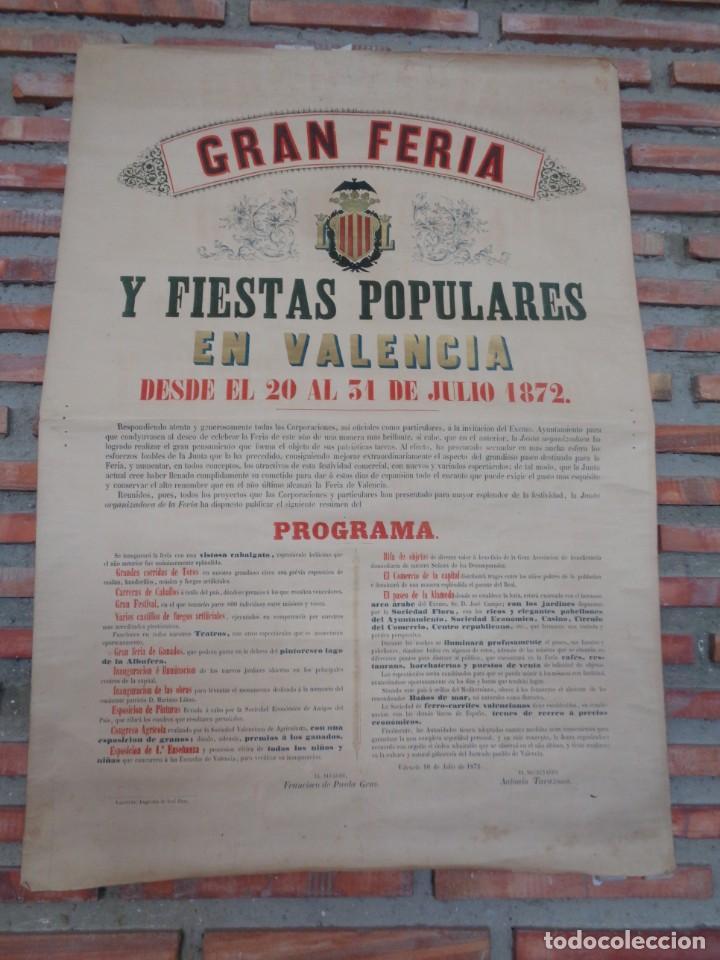 CARTEL FERIA VALENCIA 1872..R-114 (Coleccionismo - Carteles Gran Formato - Carteles Ferias, Fiestas y Festejos)