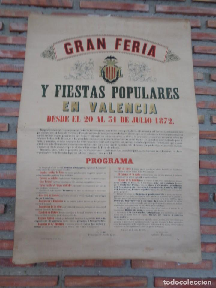 Carteles Feria: CARTEL FERIA VALENCIA 1872..R-114 - Foto 2 - 222081308