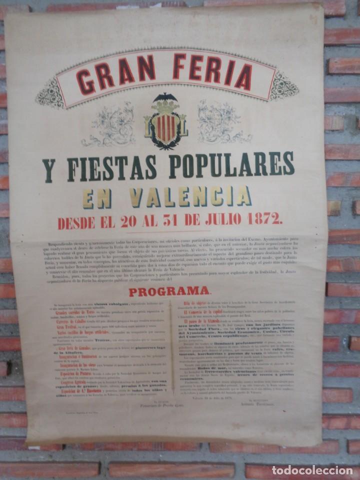 Carteles Feria: CARTEL FERIA VALENCIA 1872..R-114 - Foto 3 - 222081308
