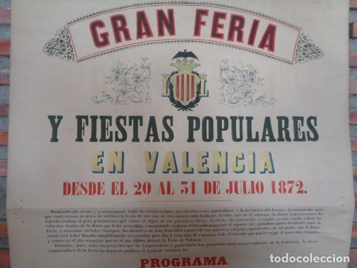 Carteles Feria: CARTEL FERIA VALENCIA 1872..R-114 - Foto 4 - 222081308