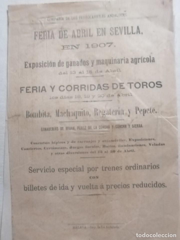 CARTEL PUBLICIDAD COMPAÑIA DE LOS FERROCARRILES ANDALUCES 1907 FERIA DE ABRIL DEN SEVILLASEVILLA (Coleccionismo - Carteles Gran Formato - Carteles Ferias, Fiestas y Festejos)