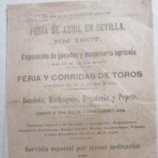 Carteles Feria: CARTEL PUBLICIDAD COMPAÑIA DE LOS FERROCARRILES ANDALUCES 1907 FERIA DE ABRIL DEN SEVILLASEVILLA. Lote 222344228