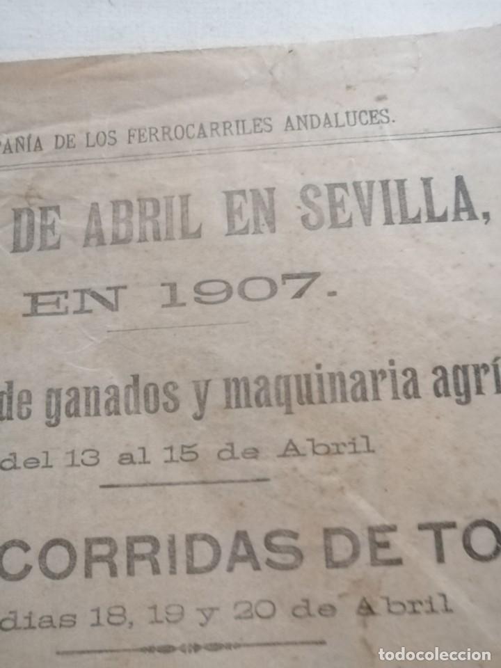 Carteles Feria: Cartel publicidad compañia de los ferrocarriles Andaluces 1907 feria de abril den sevillaSevilla - Foto 2 - 222344228
