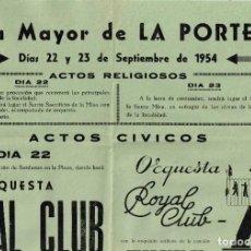 Carteles Feria: 1954 CARTEL FIESTA MAYOR DE LA PORTELLA 22 Y 23 DE SEPTIEMBRE (COLOR VERDE). Lote 222448938
