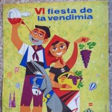 Carteles Feria: CARTEL LA RIOJA VI FIESTA DE LA VENDIMIA 1962 ALEXANDRE GINER LITOGRAFIA ORIGINAL. Lote 222555501