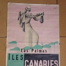Carteles Feria: CARTEL ORIGINAL ILUSTRADO POR MOLINE. LAS PALMAS. CANARIAS. ARTES GRÁFICAS GIJÓN. AÑOS 30. Lote 224742490