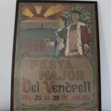 Carteles Feria: CARTEL FESTA MAJOR CON LOS GIGANTES DE EL VENDRELL 1986.ENMARCADO Y CON CRISTAL MATE PROTECTOR. Lote 225318920