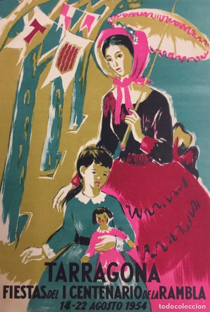 TARRAGONA. FIESTAS DEL I CENTENARIO DE LA RAMBLA. 14 - 22 AGOSTO 1954. (LIT. C. BAÑO). ILUSTR. MACIÀ (Coleccionismo - Carteles Gran Formato - Carteles Ferias, Fiestas y Festejos)