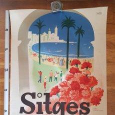 Affiches Foire: CARTEL REY PADILLA POSTER CRISOL SITGES EXPOSICION NACIONAL DE CLAVELES 1958. Lote 227075185