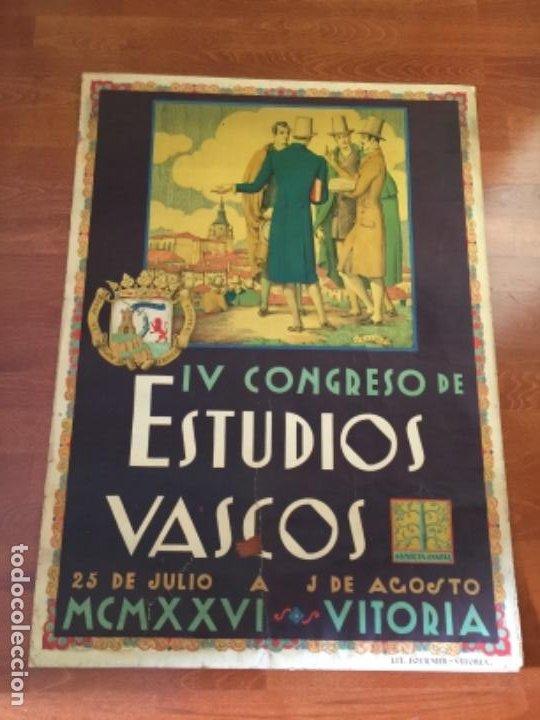 RARISIMO CARTEL IV CONGRESO DE ESTUDIOS VASCOS 1926 , FOURNIER , VITORIA , PAIS VASCO , LITOGRAFÍA (Coleccionismo - Carteles Gran Formato - Carteles Ferias, Fiestas y Festejos)